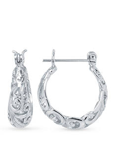 Belk Silverworks Fine Silver-Plated Swirl Hoop Earrings