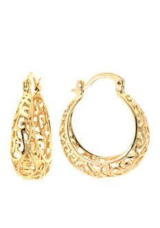 Belk Silverworks 24K Gold Plated Round Filigree Hoop Earring