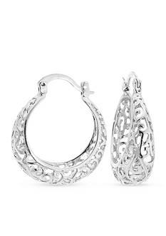 Belk Silverworks Fine Silver Plated Filigree Click Top Hoop Earring