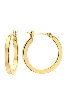 Belk Silverworks 24K Gold Over Silver Square Tube Hoop Earrings
