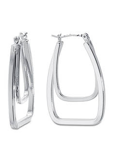 Belk Silverworks Double Square 30mm Hoop Earring in Fine Silver Plate Boxed Set