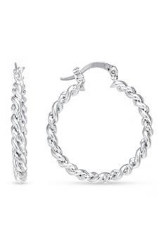 Belk Silverworks Fine Silver Plated Twisted Hoop Earrings