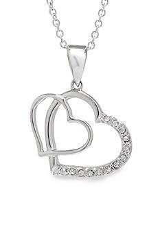 Belk Silverworks Boxed Fine Silver Plate Double Heart Pendant Necklace