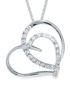 Belk Silverworks Boxed Fine Silver Plate Double Heart Pendant with Cubic Zirconia Accents