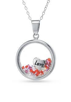 Belk Silverworks Sterling Silver Crystal and Heart Love Charm Pendant