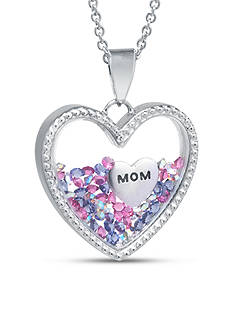 Belk Silverworks Fine Silver Plated Dancing MOM Crystal Heart Pendant Boxed Necklace