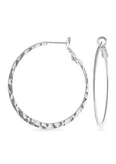 Belk Silverworks Fine Silver Plate 45-mm. Hammered Round Hoop Earring