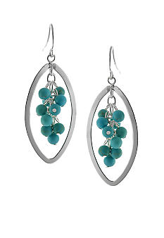 Belk Silverworks Turquoise Bead Cluster Drop Earrings
