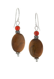 Belk Silverworks Tiger Eye Oval Bead Drop Earring