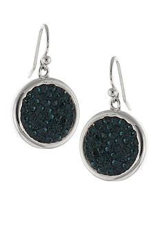 Belk Silverworks Dark Blue Pave Crystal Drop Earring