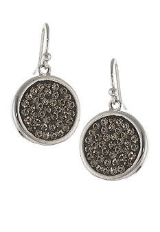 Belk Silverworks Silver Metallic Pave Crystal Drop Earrings
