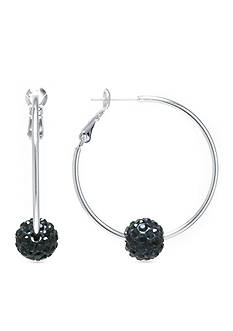 Belk Silverworks Hoop With 10-mm. Black Pave Crystal Ball in Fine Silver Plate