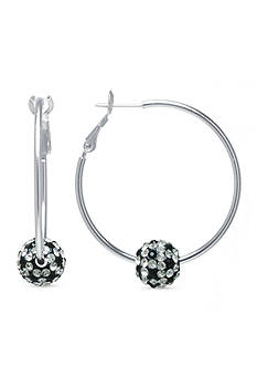 Belk Silverworks Hoop with 10-mm. Black and White Pave Crystal Ball in Fine Silver Plate