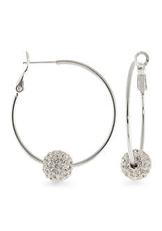 Belk Silverworks Fine Silver Plated Crystal Beaded Hoop Earrings