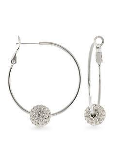 Belk Silverworks Fine Silver Plated Crystal Beaded Hoop Earrings