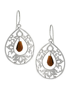 Belk Silverworks Filigree Open Teardrop with Tiger Eye Center Drop Earring