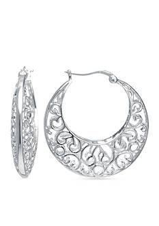 Belk Silverworks Fine Silver-Plated Hoop Earring