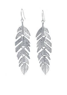 Belk Silverworks Textured Feather Drop Earring in Fine Silver Plate