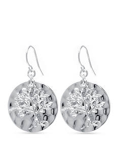 Belk Silverworks Tree of Life Disc Drop Earring in Fine Silver Plate
