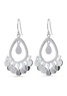 Belk Silverworks Open Teardrop Chandelier Earring in Fine Silver Plate