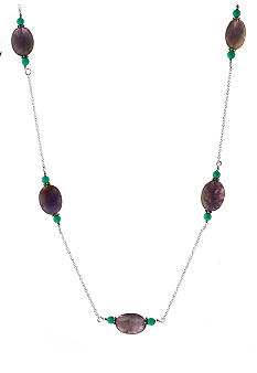 Belk Silverworks 30'' Rope Necklace With Amethyst Stations