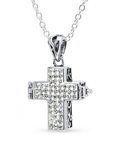 Belk Silverworks Fine Silver-Plated Crystal Prayer Box Cross Necklace