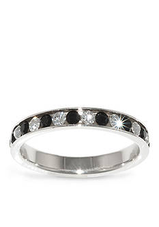 Belk Silverworks Fine Silver Plate Black and Clear Crystal Eternity Band Ring
