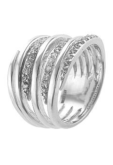Belk Silverworks Belk Silverworks and Cubic Zirconia Stack Band Ring