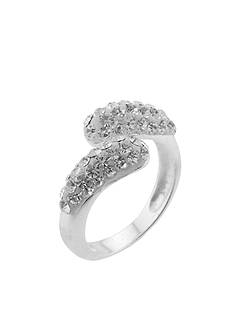 Belk Silverworks Clear Pave Crystal Bypass Ring