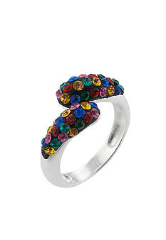 Belk Silverworks Multi Color Pave Crystal Bypass Ring