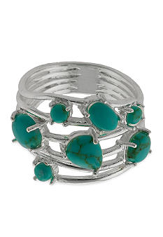 Belk Silverworks Multi Row Wire Ring with Turquoise Stations