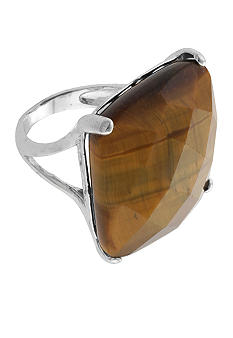Belk Silverworks Bold Faceted Square Tiger Eye Ring