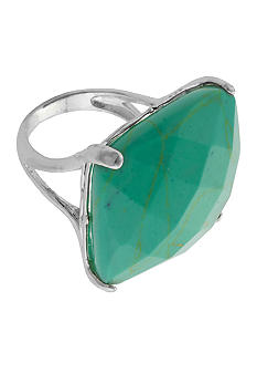 Belk Silverworks Bold Faceted Square Turquoise Ring