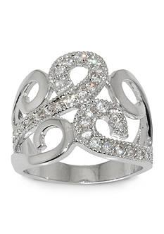 Belk Silverworks Fine Silver Plate Cubic Zirconia Wide Wave Ring