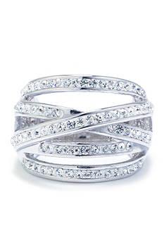 Belk Silverworks Silver Plated Crystal Pave Ring