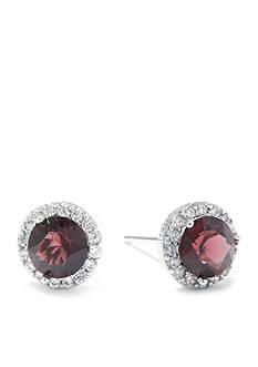 Belk Silverworks Sterling Silver Burgundy Swarovski Crystal Halo Stud Boxed Earring