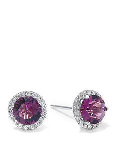 Belk Silverworks Sterling Silver Amethyst Swarovski Crystal Halo Stud Earring