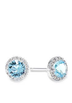 Belk Silverworks Sterling Silver Aqua Swarovski Crystal Halo Stud Boxed Earring