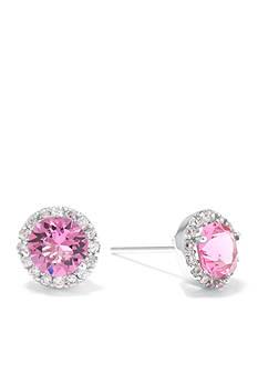 Belk Silverworks Sterling Silver Pink Swarovski Crystal Halo Stud Boxed Earring