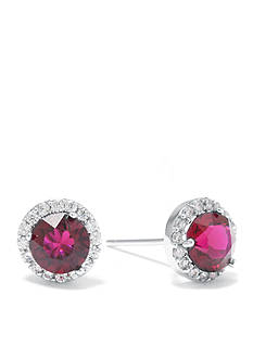 Belk Silverworks Sterling Silver Ruby Swarovski Crystal Halo Stud Boxed Earring