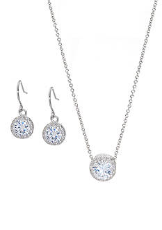 Belk Silverworks Silver Plated State Cubic Zirconia Earrings and Pendant Necklace Set