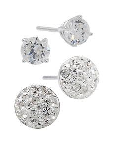 Belk Silverworks Sterling Silver Crystal and CZ Stud Earrings Set
