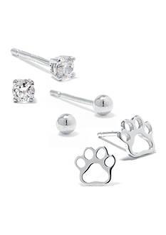 Belk Silverworks Sterling Silver Paw and Stud Earring Set