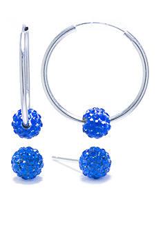 Belk Silverworks Sterling Silver Blue Crystal Pave Stud and Hoop Earring Set