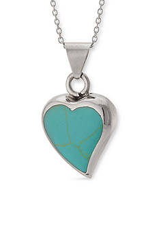 Belk Silverworks Sterling Silver Reconstituted Turquoise Heart Slide Pendant Necklace