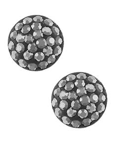 Belk Silverworks Pave Crystal Half Ball Stud Earrings