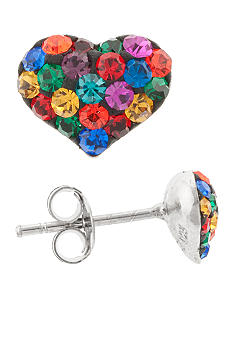 Belk Silverworks Sterling Silver and Pave Crystal Dark Multicolor Heart Stud Earring