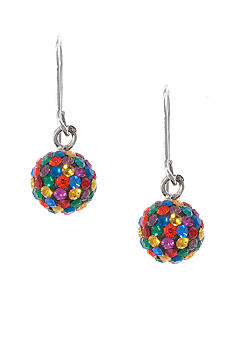 Belk Silverworks Pave Crystal Ball Drop Earring