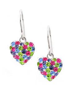 Belk Silverworks Pave Crystal Multi Pastel Heart Drop Earrings