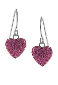 Belk Silverworks Sterling Silver and Pave Crystal Pink Heart Drop Earring